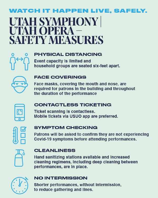 Utah Symphony | Utah Opera Safety Measures. Physical Distancing- Event capacity is limited (approx. 15% of normal) & household groups are seated six-feet apart. Face Coverings- Face masks, covering the mouth and nose, are required in the building and throughout the duration of the performance. Contactless Ticketing- Ticket scanning is contactless. Mobile tickets via USUO app are preferred over paper tickets. Symptom Checking- Patrons will be asked to confirm they are not experiencing Covid-19 symptoms before attending performances. Cleanliness- Hand sanitizing stations are available & increased cleaning regimens are in place. No Intermission- Shorter performances (about 1 hour), without intermission, to reduce gathering and lines.