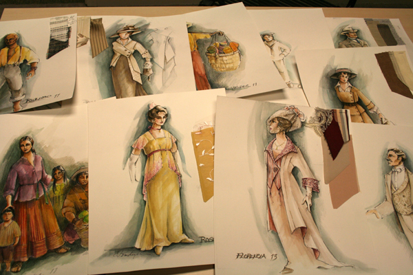 Costume sketches for Utah Opera's production of Florencia en el Amazonas