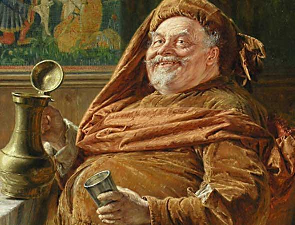 Eduard von Grützner: Falstaff mit großer Weinkanne und Becher (1896) (Falstaff with big wine jar and cup, 1896)