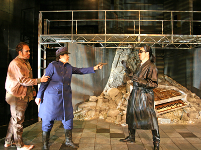Leonore-as-Fidelio stops Don Pizarro from murdering her husband Florestan.