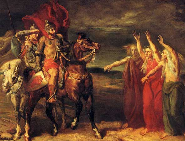 Macbeth and Banquo encounter the witches for the first time