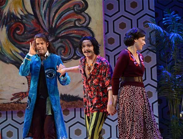 Opera Philadelphia's production of The Barber of Seville.Figaro (Jonathan Beyer) tries to help Almaviva (Taylor Stayton) and Rosina (Jennifer Holloway) escape Bartolo's house. Photos by Kelly & Massa.